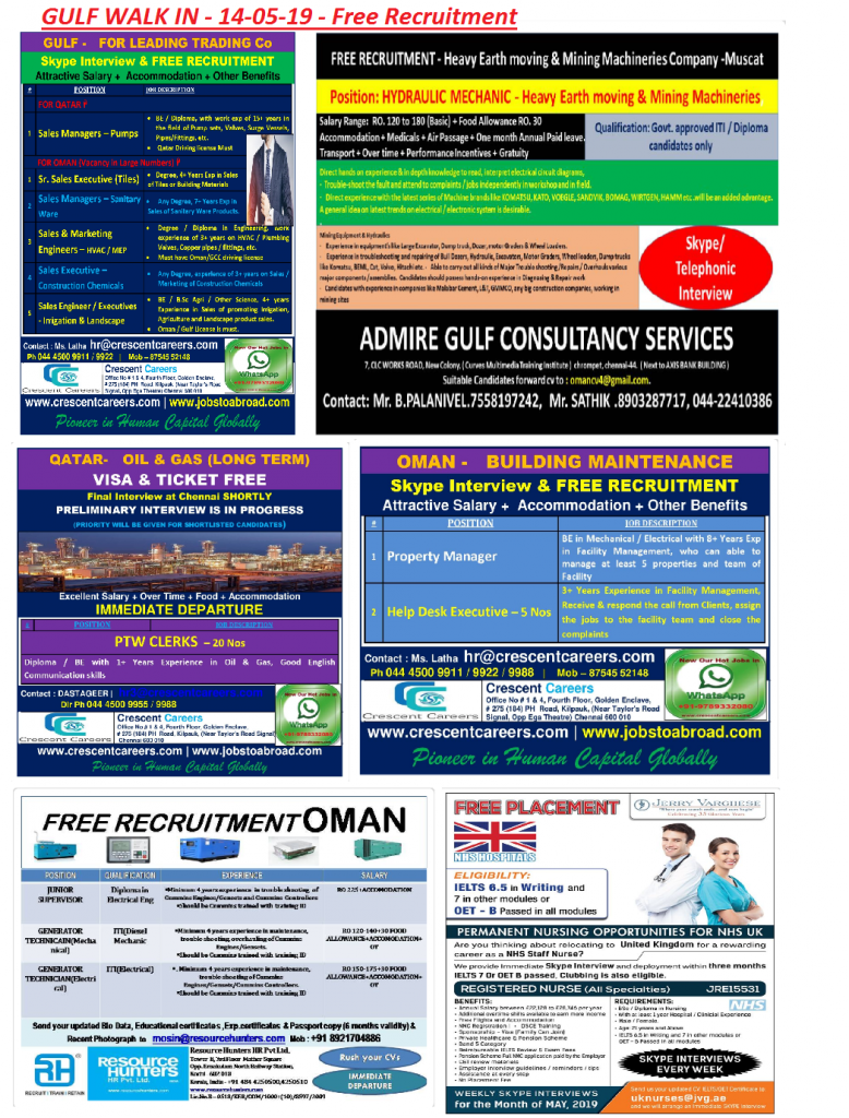 Gulf Walk In - 14-05-19 - Free Recruitment - Alert Jobs Free