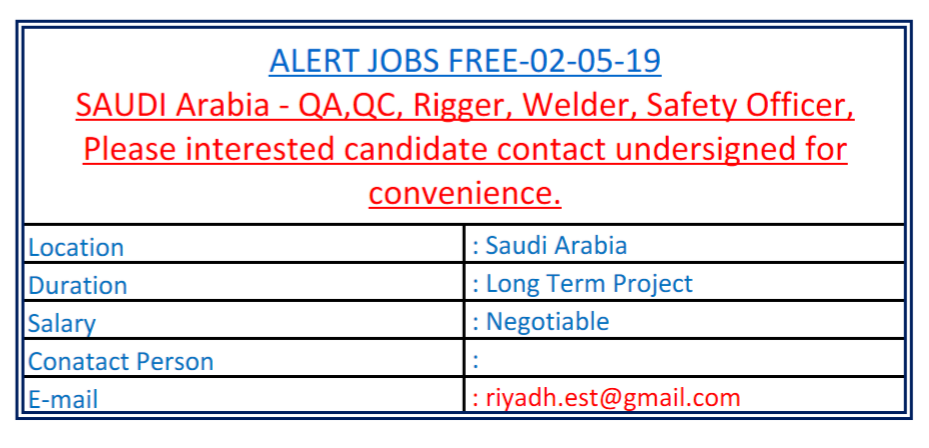 QA/QC, Rigger, Safety Officer Aramco Certified-Recruitment