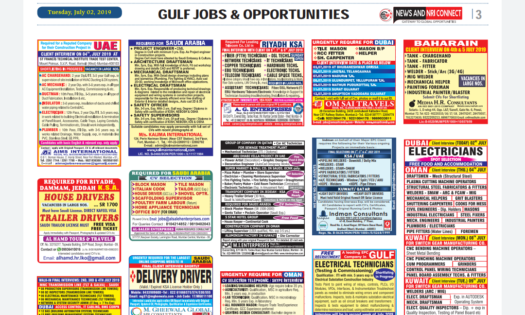 NRI CONNECT E-PAPER - 06-07-19 - Alert Jobs Free