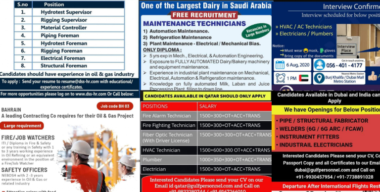 Assignment abroad times today - Jobs in Qatar-Dubai-Oman-Kuwait