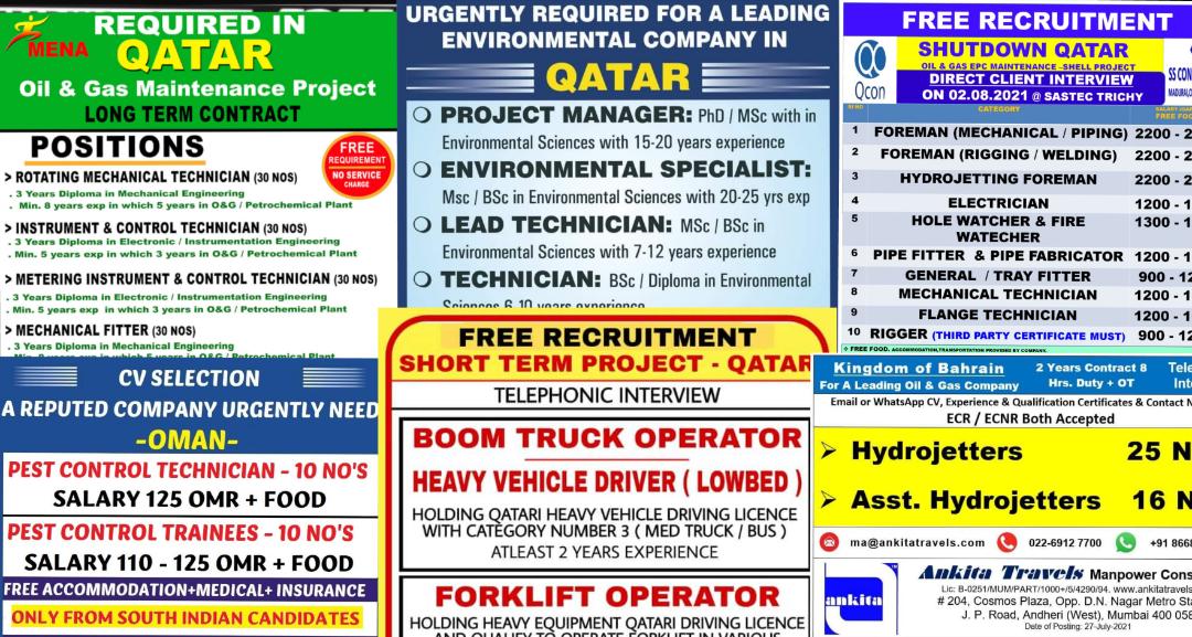 Global jobs 27th july 2021